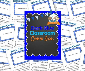 Center Signs for Pre-K and Preschool ~ Dark Blue