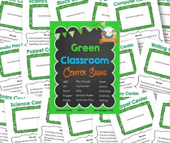 Center Signs for Pre-K and Preschool ~ Green