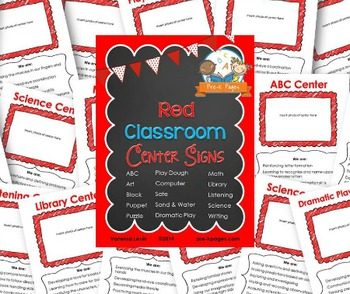Center Signs for Pre-K and Preschool ~ Red