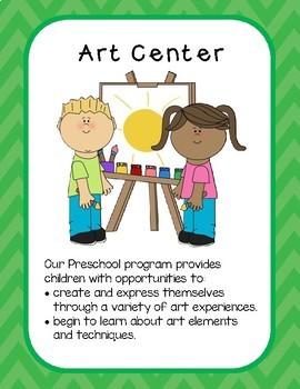 Center Signs for Preschool--Green on Green Chevron