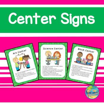 Center Signs for Preschool--Green on Green Chevron