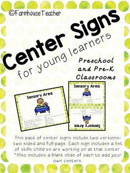 Center Signs for Young Learners