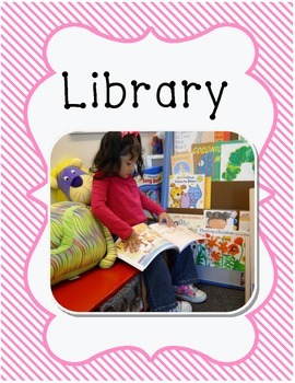 Center Signs for preschool classroom pink stripe border