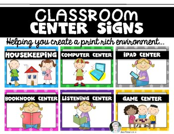 "14 ""Center Signs"" for the  {Primary} Classroom!"