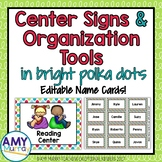 Center Signs with Editable Name Templates in Bright Polka Dots