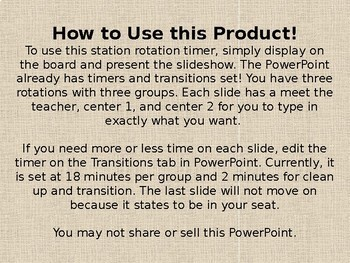 Center Station Rotation Timers EDITABLE: 3 and 4 Groups