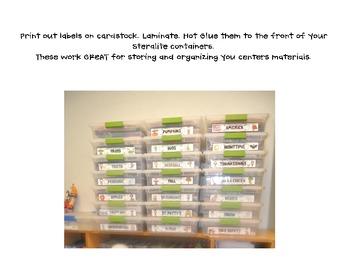 Center Storage Labels  sc 1 st  Teachers Pay Teachers & Center Storage Labels by Katie Mense | Teachers Pay Teachers