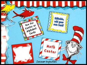 Center / Table Signs – Coordinates with Seuss-like Colors Classroom Theme