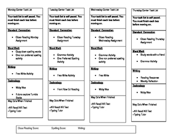 Center Task List