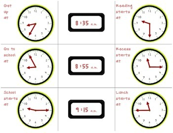 Center: Telling Time to the Nearest 5 Minutes Using AM and PM (2.MD.C.7)