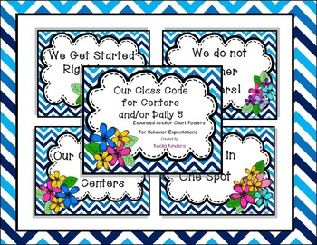 Center Time Anchor Poster (blue chevron with spring flowers)
