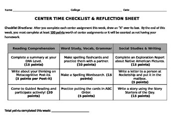 Center Time Checklist and Reflection Sheet