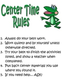 Center Time Rules for Students FROG clip art
