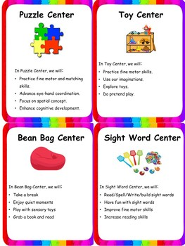Center Time Signs/Labels/Posters with skill details for ESE/K/PreK/1st/2nd