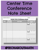 Center Time or Small Group Conference Notes