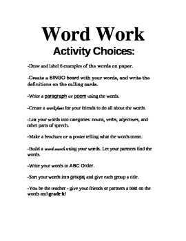 "Center ""Word Work"" Ideas"