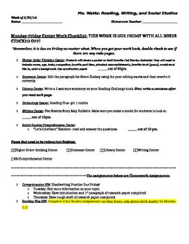 Center Work Checklist
