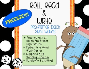 **Word Work Center** Roll, Read & Write Dolch Sight Words Worksheets {FREEBIE}