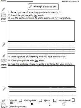 Center Worksheets for Treasures Unit 1 Reading