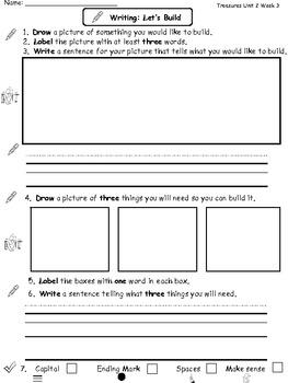 Center Worksheets for Treasures Unit 2 Reading