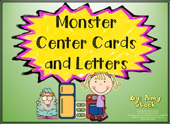 Center cards and letters:  Monster theme