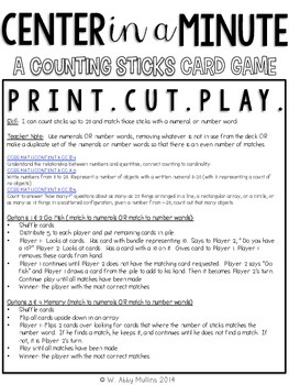 Center in a Minute {Early Numeracy}: Counting Popsicle Sticks