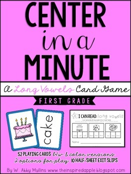 Center in a Minute {First Grade}: A Long Vowels Card Game
