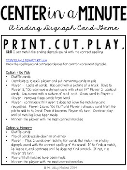 Center in a Minute {First Grade}: An Ending Digraph Card Game