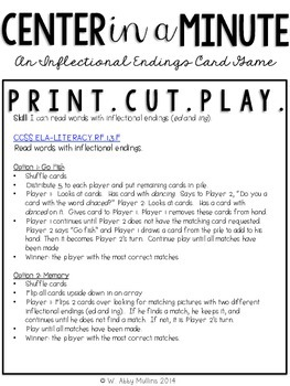 Center in a Minute {First Grade}: An Inflectional Endings Card Game