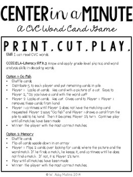 Center in a Minute {Kindergarten}: A CVC Words Card Game
