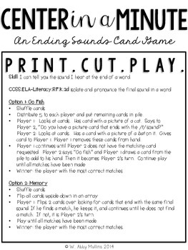 Center in a Minute {Kindergarten}: A Final Sound Card Game