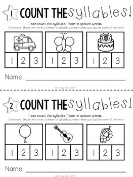 Center in a Minute {Kindergarten}: A Syllables Card Game