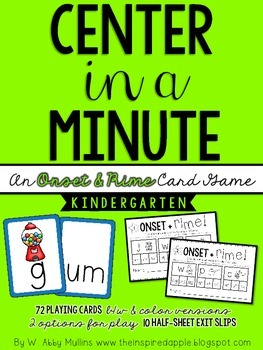 Center in a Minute {Kindergarten}: An Onset & Rime Card Game