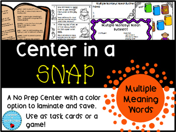 Multiple Meaning Words Center in a Snap