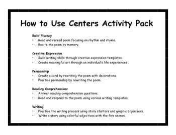 Centers Activity Pack