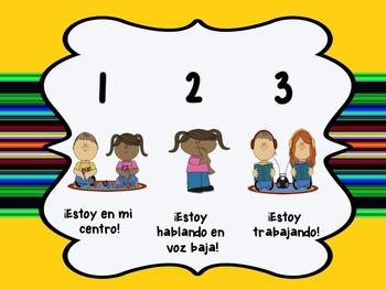 Centers Behavior Self-Check Bilingual Bundle