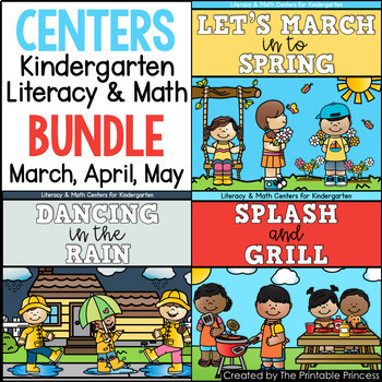 Spring and Summer Literacy and Math Centers for Kindergarten | Bundle #3
