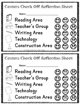 Centers Check Off Reflection Sheet