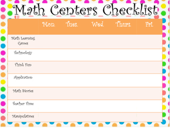 Literacy and Math Centers Checklists