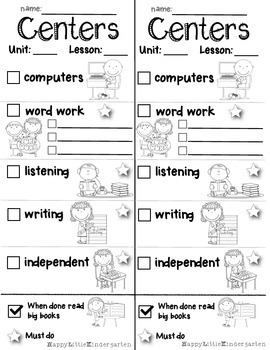 Centers Checklist Freebie: Sample from Fun with Phonics Wo