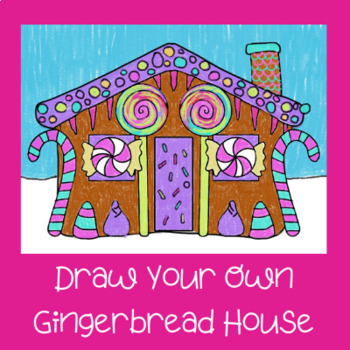 Elementary drawing of a gingerbread house