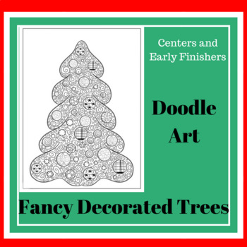 Doodle Art Activity of a Christmas tree