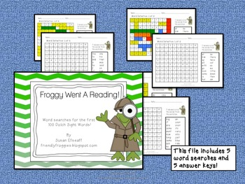 Literacy Centers - Froggy Went a Reading - Sight Word Searches - Morning Work