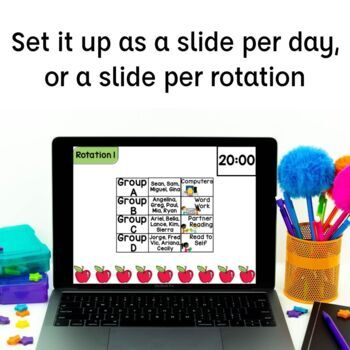 Centers Rotation Chart Powerpoint with Timers | Math Centers | Reading Centers