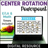 Digital Centers Rotation Chart Powerpoint with Timers Math Reading Centers