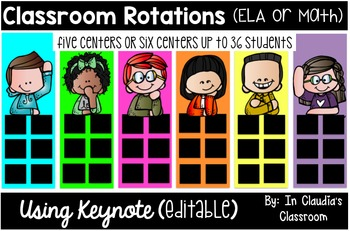Centers Rotations Template for Five or Six Groups (Editable)