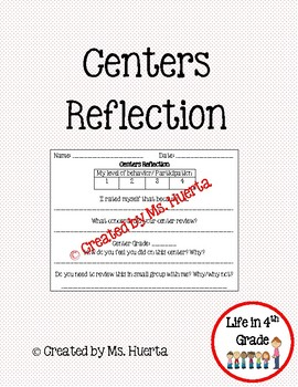 Centers/ Workstation Reflection Slips