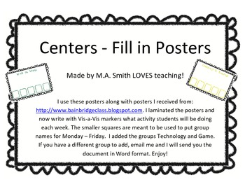 Centers - Write in Posters
