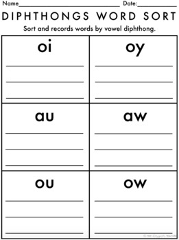 Centers by Design: Vowel Diphthongs Word Sort