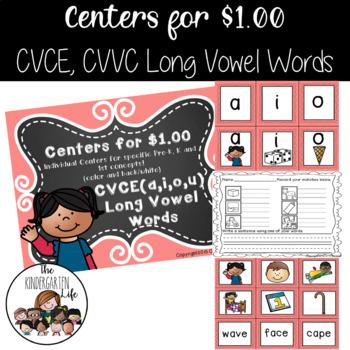 Centers for $1.00: CVCE Long Vowel Words (a,i,o,u)